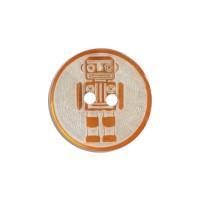 Bouton Robot Gravé en Nacre, coloris orange