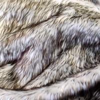 Tissu fausse fourrure à poils longs, blanc et noir