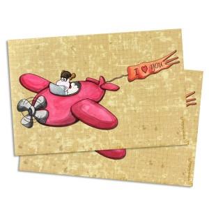 Carte postale mouton aviateur