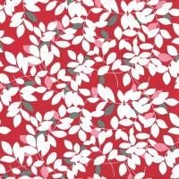 Tissu feuillage fond rouge (x 50cm)