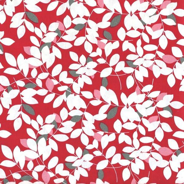 tissu feuillage fond rouge x 50cm les moutons de kallou. Black Bedroom Furniture Sets. Home Design Ideas