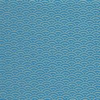 Tissu motif japonais, bleu et or (x 50cm)