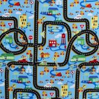 Tissu circuit voitures, fond bleu (x 50cm)