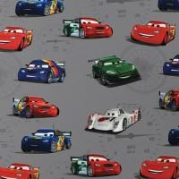 Tissu Cars Flash McQueen, gros motifs fond gris (x 50cm)