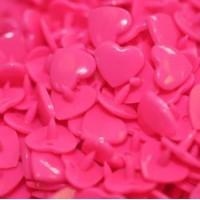 Pression Kam coeur, coloris Rose Fushia  (lot de 5)