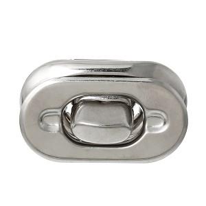 Fermoir argenté pour sac à main, verrou oval 36 mm x 28mm Modele R