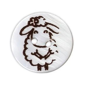 Bouton rond Mouton Blanc, en coquille, 2 trous