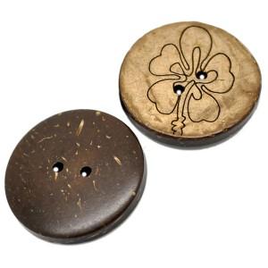 Grand Bouton en coco gravé, motif fleuri D, 30mm