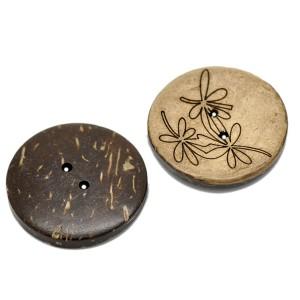 Grand Bouton en coco gravé, motif fleuri E, 30mm