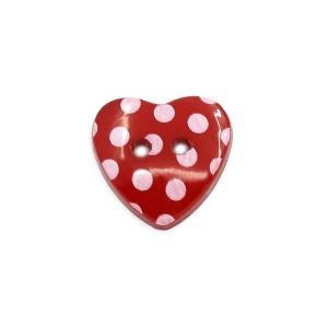 Bouton coeur à pois 15mm rouge