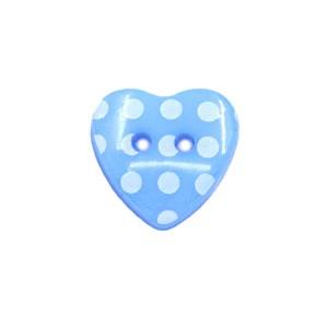Bouton coeur à pois 15mm bleu