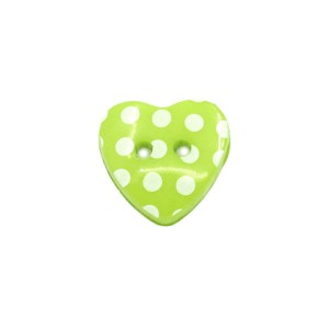 Bouton coeur à pois 15mm vert