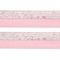 Élastique plat rose pâle et argent, bicolore, 15 mm