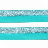 Élastique plat Bleu turquoise et argent, bicolore, 15 mm