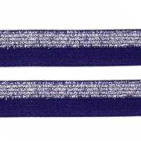 Élastique plat Bleu marine et argent, bicolore, 15 mm