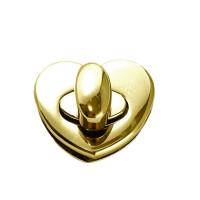 Fermoir coeur or pour sac, verrou coeur 27 x 30 mm