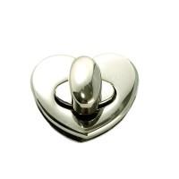 Fermoir coeur argent pour sac, verrou coeur 27 x 30 mm