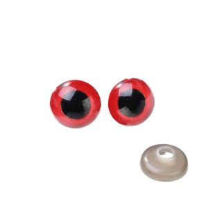 Yeux sécurité rouge 9mm pour peluche, pupille ronde (5 paires)