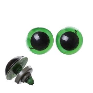 Yeux sécurité vert 14mm pour peluche, pupille ronde  (5 paires)