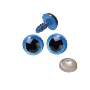 Yeux sécurité bleus 9mm pour peluche, pupille ronde (5 paires)