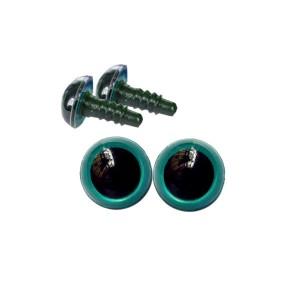 Yeux sécurité bleu-vert 8mm pour peluche (2 paires)