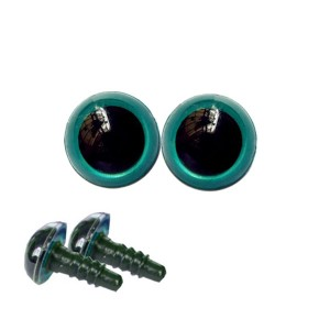 Yeux sécurité bleu-vert 10mm pour peluche (2 paires)