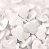 Pression Kam coeur, coloris blanc  (lot de 5)
