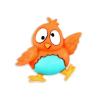 Bouton Chouette rigolote Orange et bleu