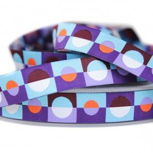 Ruban motifs géométriques vintage, tons Bleu
