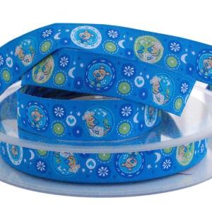 Ruban motifs enfant, mouton et ours, tons Bleu