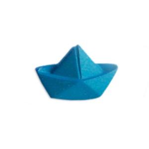 Bouton bateau origami, bleu canard