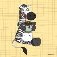 Panneau tissu Zebre Gourmand, designer Les Moutons de Kallou 26 x 26 cm