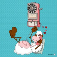 Panneau tissu Mouton amoureux au téléphone, designer Les Moutons de Kallou 40 x 40 cm