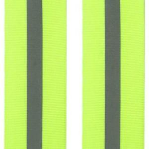 Galon jaune fluo reflechissant, aspect gros grain, 30 mm