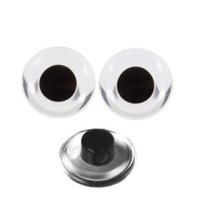 Boutons Yeux transparent 12mm pour peluche, pupille ronde noire  (1 paire)