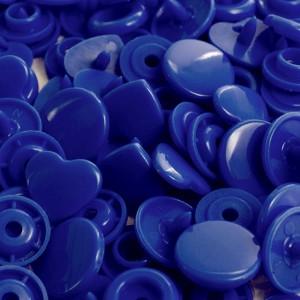 Pression Kam coeur, coloris Bleu foncé  (lot de 5)