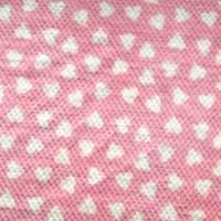 Tissu doudou coeur rose et blanc, à relief (x 50 cm)