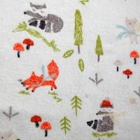 Tissu flanelle Renard et animaux d'automne (x 50 cm)