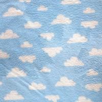 Tissu doudou Nuage, coloris bleu (x 50 cm)