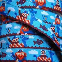 Ruban motif vicking fond bleu