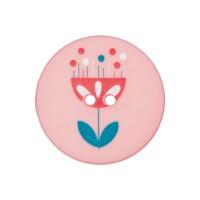 Bouton rond fleur scandinave, coloris rose, 15mm