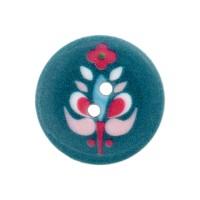Bouton rond motif scandinave, coloris bleu pétrole, 20mm