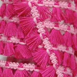 Passementerie Galon à franges, pompons bicolore sur tresse, coloris rose