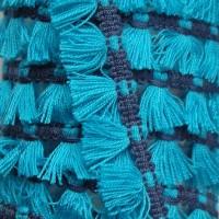 Passementerie Galon à franges, pompons bicolore sur tresse, coloris bleu