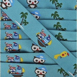 Ruban motif Animaux Pirates, fond bleu