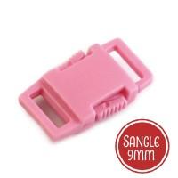 Boucle plastique type sac à dos, 15mm coloris rose pâle