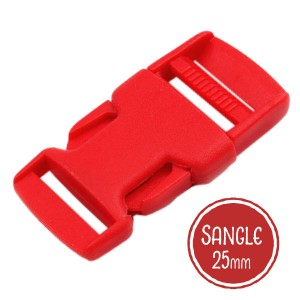 Boucle plastique type sac à dos, 32mm coloris Rouge