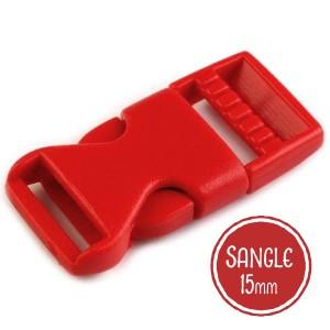 Boucle plastique type sac à dos, 20mm coloris Rouge