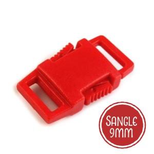 Boucle plastique type sac à dos, 15mm coloris rouge