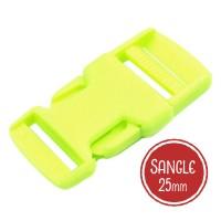 Boucle plastique type sac à dos, 32mm coloris Vert Anis fluo